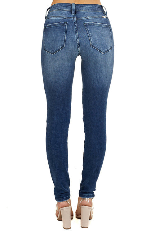Land of Nostalgia Women's British Skinny Ripped Trousers Sexy Tight Denim Jeans
