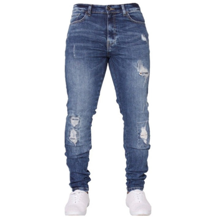 Land of Nostalgia Men's Mid Waist Denim Pants Stretch Slim Casual Jeans