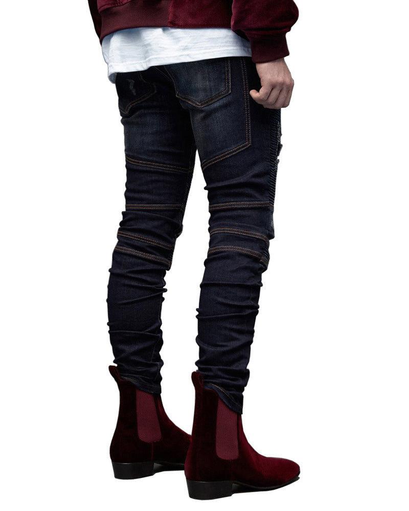 Land of Nostalgia Men's Biker Jeans Hole Elastic Slim Fit Distressed Pants