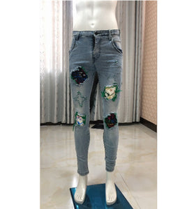 Land of Nostalgia Custom Fashion Light Wash Hip Hot Printing Ripped Patchwork High Street Men Jeans
