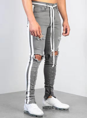 Land of Nostalgia Men's Ripped Denim Pants Side Stripe Jeans