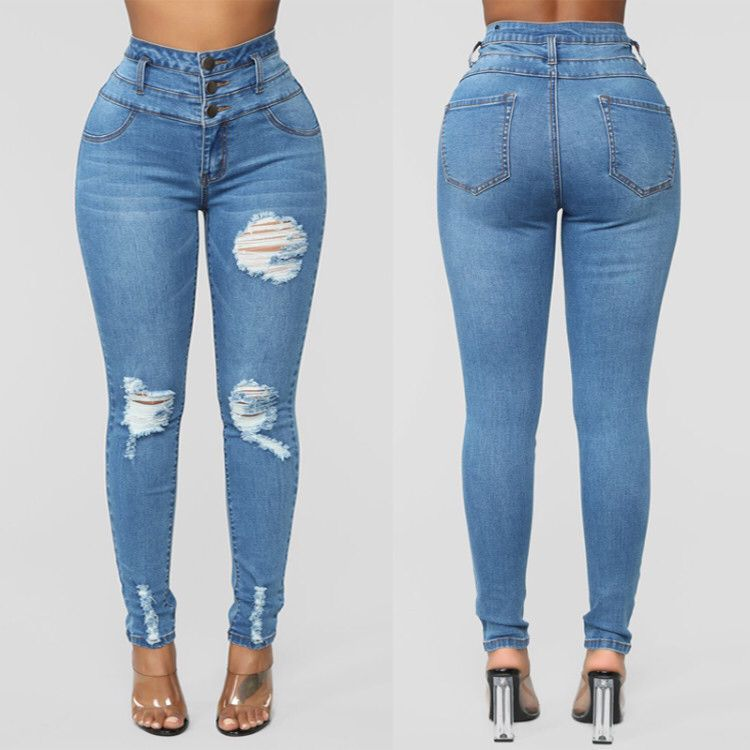 Land of Nostalgia High Waist Destroyed Ripped Pants Women's Skinny Denim Button Jeans