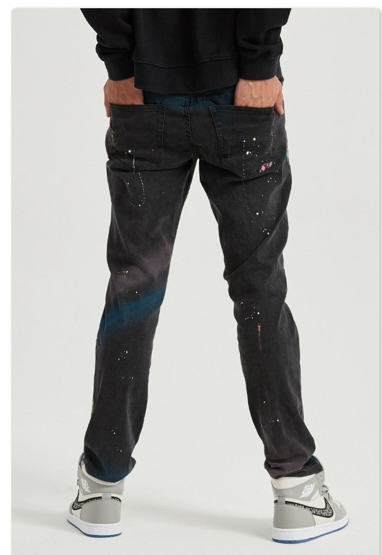 Land of Nostalgia 2020 New Autumn High Street Fashion Knees Ripped Jeans Men Ink-splashes Stretch Fabric Denim Torn Jeans for boys