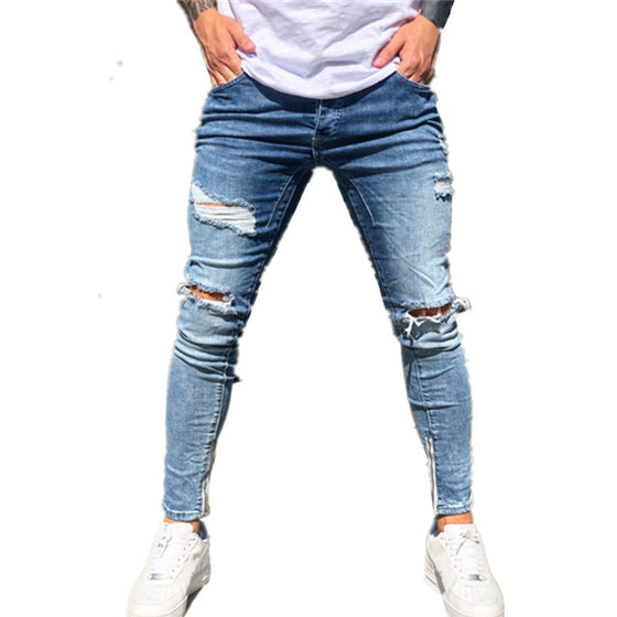 Land of Nostalgia Men's Stretch Slim Denim Fit Pants Skinny Ripped Jeans