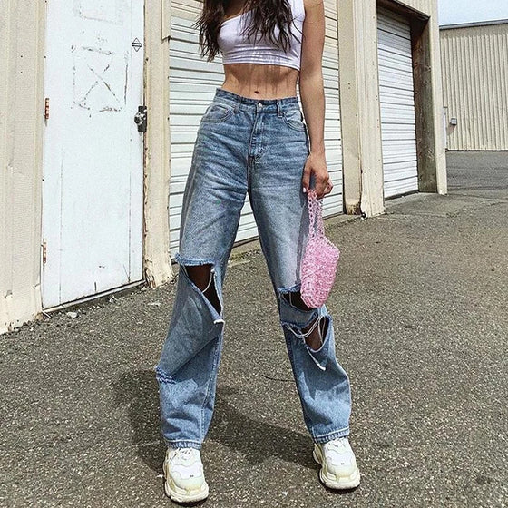 Land of Nostalgia High Waist Straight Wide Leg Hip Hop Trousers Women's Ripped Casual Sexy Denim Jeans