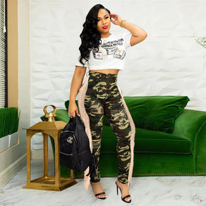 Land of Nostalgia Camouflage Women's Casual Ripped Denim Tassel Pants Jeans