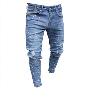 Land of Nostalgia Customized Ripped Paint Boys Men Trousers Pants Skinny Men Jeans