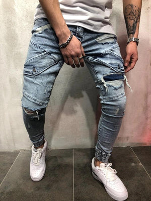 Land of Nostalgia Hip Hop Trousers Designer Ripped Hole Patch Denim Skinny Men Jeans