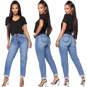 Land of Nostalgia High Waisted Straight Fashion Women's Casual Denim Blue Jeans