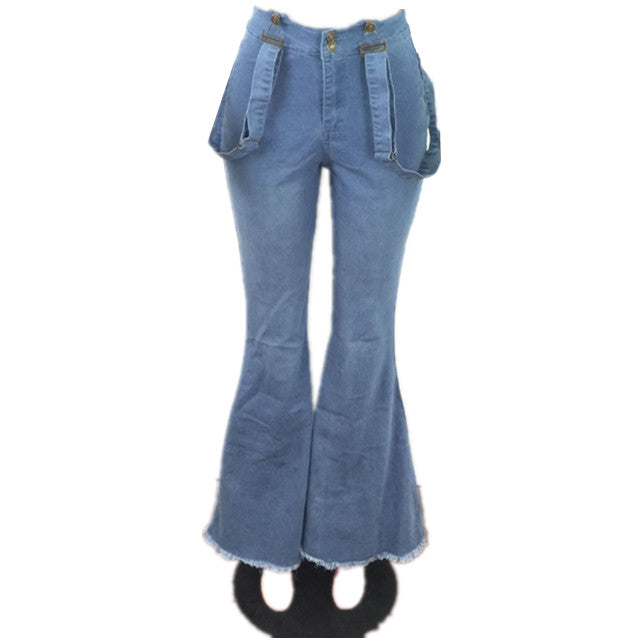 Land of Nostalgia 2 pcs Set Customized Flared Pants Overalls Women's Denim Jeans