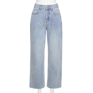 Land of Nostalgia Women's Fashion High Waist Wide Leg Stretch Trousers Denim Jeans