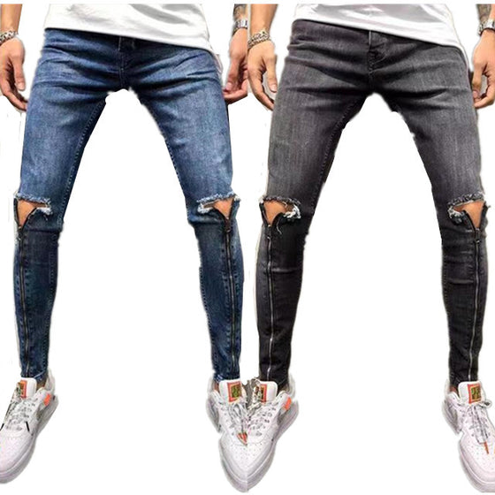 Land of Nostalgia Men's Zipper Pantalones Trousers Pants Skinny Ripped Jeans