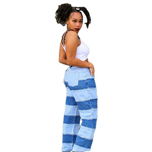 Land of Nostalgia Classic High Waist Wide Leg Patchwork Women's Streetwear Denim Jeans Pants