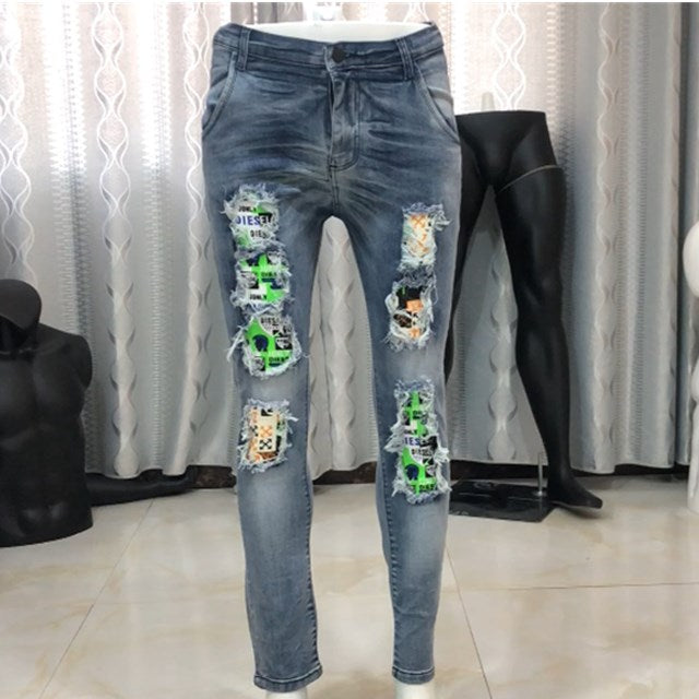Land of Nostalgia Men's Wash Hip Hop Ripped Patchwork Pants Skinny Denim Fabric Trousers Jeans