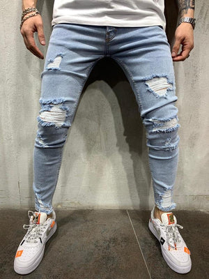 Land of Nostalgia Men's Biker Denim Pants Destroyed Light Blue Jeans