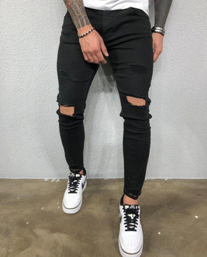 Land of Nostalgia New Brand Cool Designer Brand Black Skinny Stretch Distressed Ripped Jeans For Men Denim Pants Slim Fit men's jeans Trousers