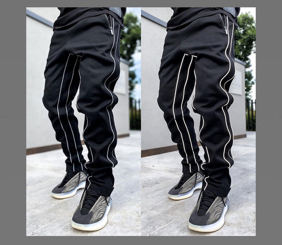 Land of Nostalgia Men's Trousers Striped Muscle Sports Jogger Pants