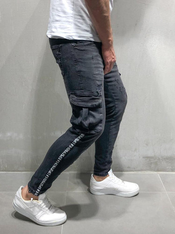 Land of Nostalgia Men's Ripped Zipper Cargo Slim Fit Skinny Pants with Side Pocket
