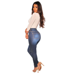 Land of Nostalgia High Waist Slim Fit Trousers Women's Casual Skinny Jeans