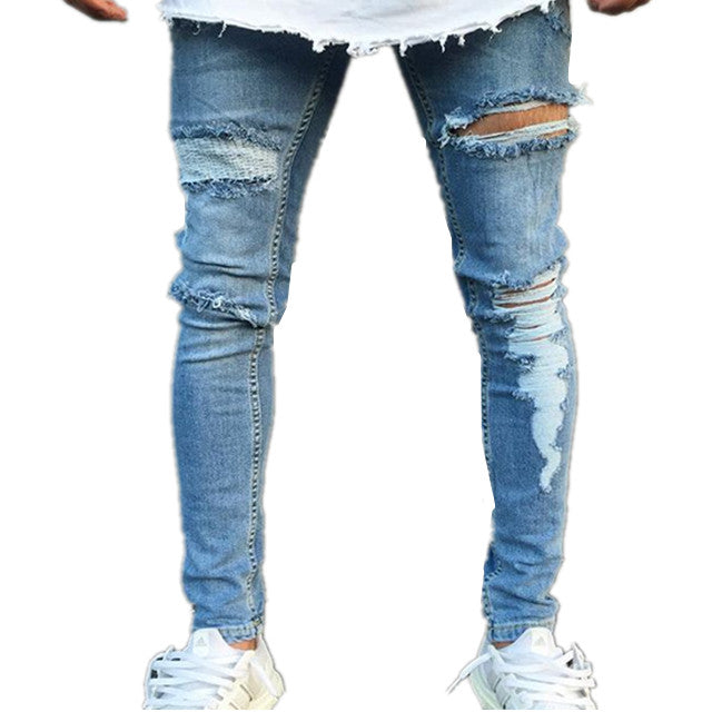 Land of Nostalgia Men's Stretch Slim Ripped Trousers Pants Jeans