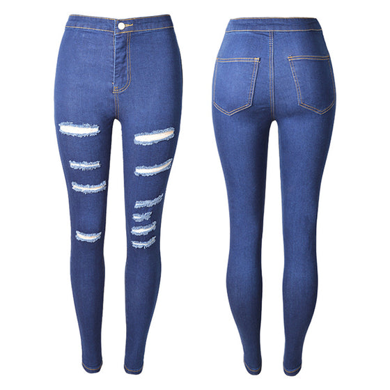 Land of Nostalgia High Waist Skinny Ripped Denim Women's Blue Jeans