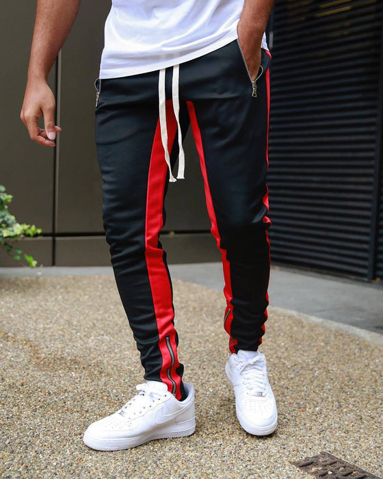 Land of Nostalgia Men's Sweatpants Sport Jogger Trousers Striped Cargo Pants