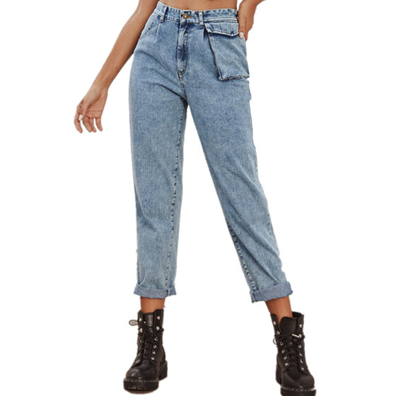 Land of Nostalgia Straight Trousers Pants Women's Denim Pocket Jeans