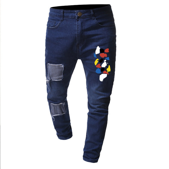 Land of Nostalgia Men's Leggings Patched Spot Printing Denim Jeans