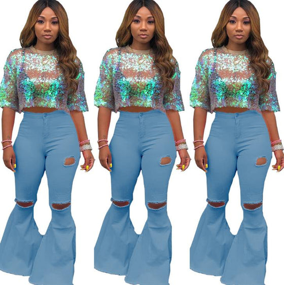 Land of Nostalgia Plus Size High Waist Ripped Bell Bottom Jeans for Women