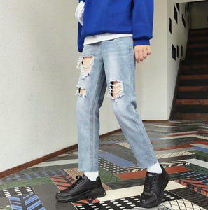 Land of Nostalgia Men's Fashion High Street Hip Hop Denim Straight Ripped Trousers Pants Jeans