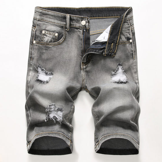 Land of Nostalgia Casual Straight Ripped Denim Fabric Jeans Pants Men's Jeans Shorts