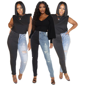 Land of Nostalgia High Waist Two-colors Destroyed Patchwork Women's Skinny Denim Ripped Jeans