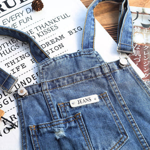 Land of Nostalgia Overalls Ripped Patches Loose Trousers Women's Skinny Jeans