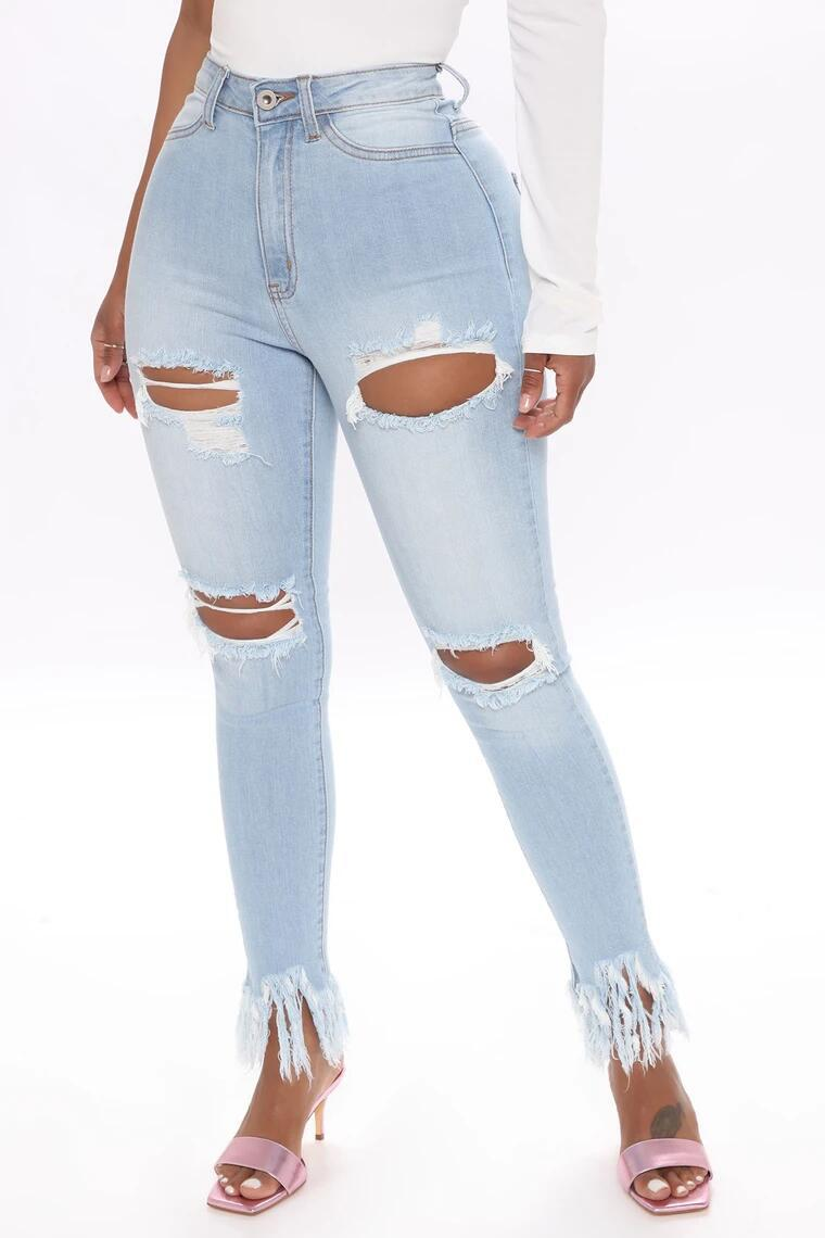 Land of Nostalgia High Street Stretch Ripped Trousers Women's Casual Skinny Denim Jeans