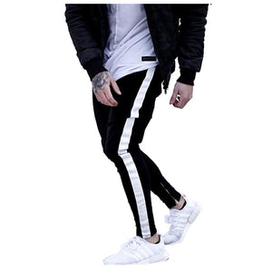 Land of Nostalgia Black Elevate Your Consciousness Skinny Jeans with White Side Stripe