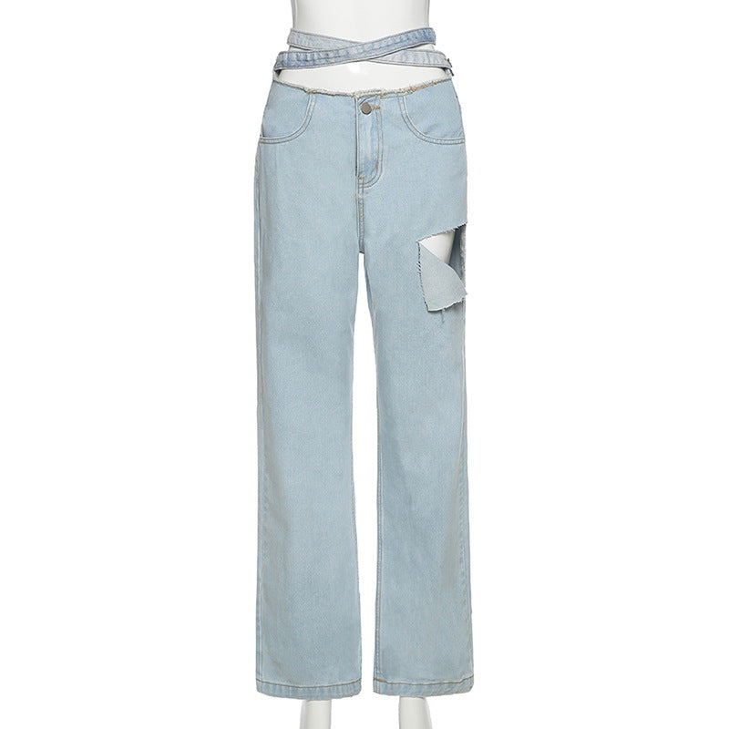 Land of Nostalgia High Waisted Loose Straight Women's Street Straps Jeans