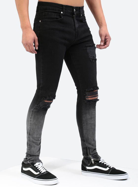 Land of Nostalgia Men's Casual Skinny Trousers Gradient Ripped Jeans