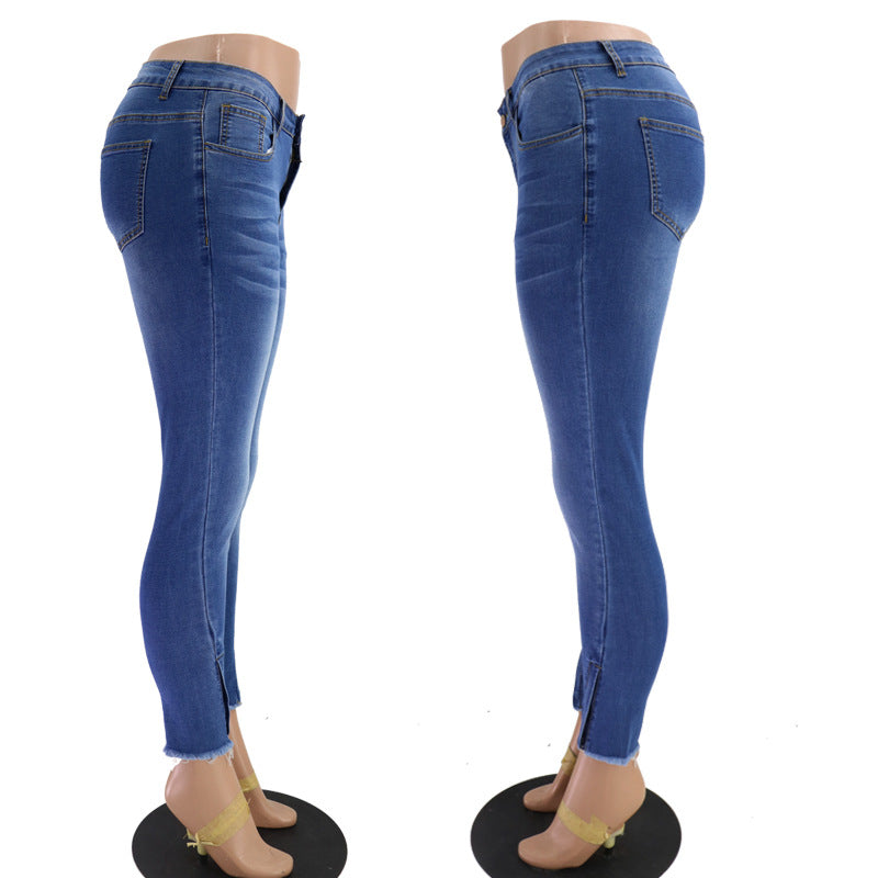 Land of Nostalgia Women's Blue Skinny Slim Fit Long Stretch Denim Zipper Pants Jeans