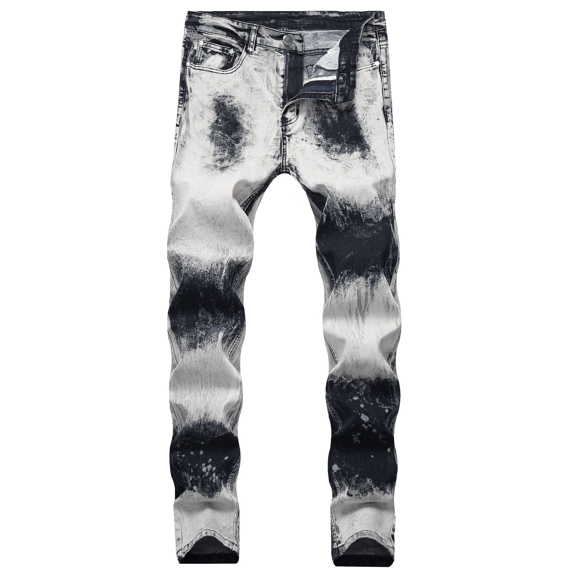 Land of Nostalgia Men's Snow Washed Slim Trousers Pantalones Jeans