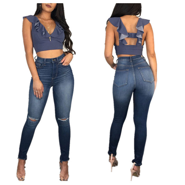 Land of Nostalgia High Waist Ripped Denim Pants Women's Skinny Jeans