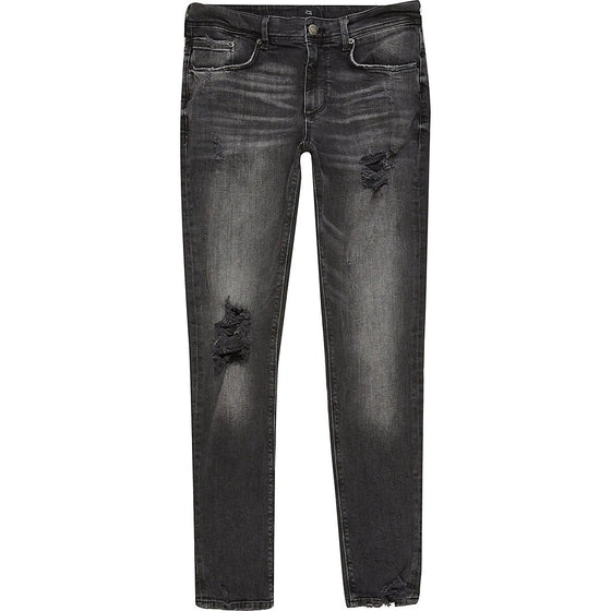 Land of Nostalgia Men's Casual Skinny Ripped Hole Trousers Denim Pants Jeans