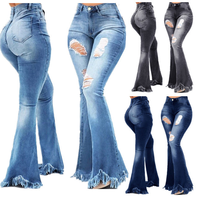 Land of Nostalgia High Waist Distressed Flare Trousers Women's Tassel Hole Denim Jeans