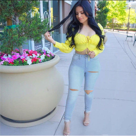 Land of Nostalgia High Waist Stretch Pencil Ripped Pants Women's Skinny Denim Jeans