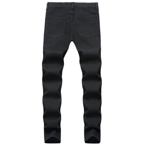Land of Nostalgia Denim Skinny Men's Black Ripped Jean With Hole
