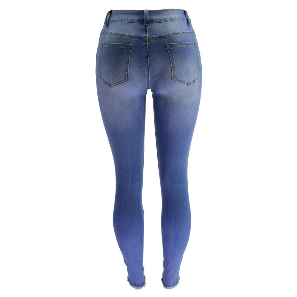 Land of Nostalgia Women's Skinny Ripped Trousers Pants Stretch Blue Denim Jeans