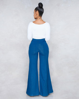 Land of Nostalgia High Waisted Wide Leg Women's Trousers Denim Flared Jeans