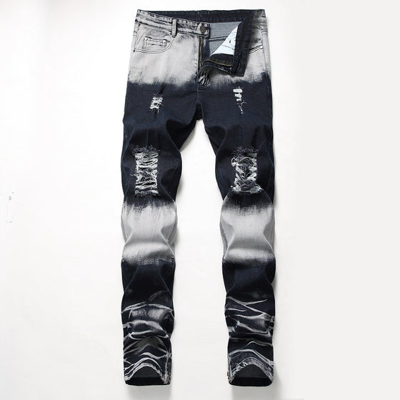 Land of Nostalgia Men's Elastic Straight Slim Trousers Ripped Jeans