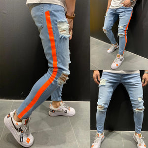 Land of Nostalgia Ripped Skinny Jeans with Orange Side Stripe