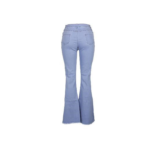 Land of Nostalgia High Waist Elastic Flare Ripped Pants Women's Bell Bottom Jeans