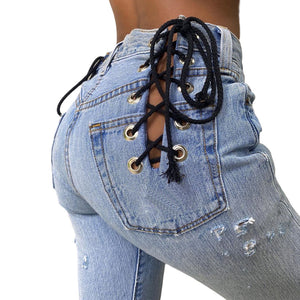 Land of Nostalgia Creative Back Contrast Eyelet Hollow Leggings Women's Strap Denim Jeans